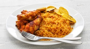 Oven Baked Brown Rice Jollof and Chicken