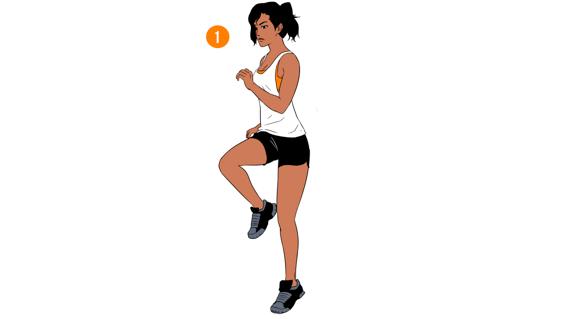 Running Knee Raises - step 1