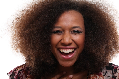 happy afro woman