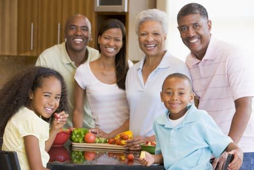 family arounf fruits & vegs.