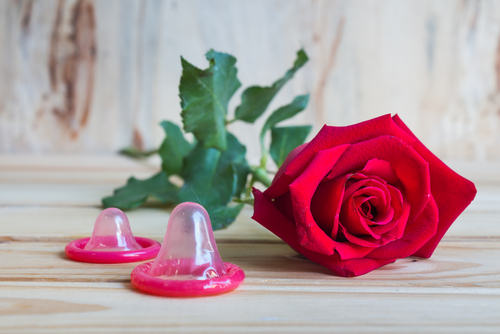 safe sex rose with condom